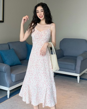 Slim sling dress Korean style long dress for women