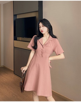 Korean style lapel college pinched waist dress