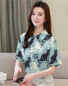 Korean style short sleeve tops maiden summer shirt for women