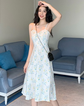 Korean style sandy beach long dress lady sexy dress for women