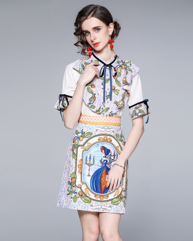 Short sleeve bow skirt temperament fashion shirt 2pcs set