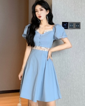 Embroidery retro dress court style lady dress