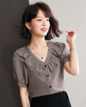 Double summer tops retro black-white shirt for women