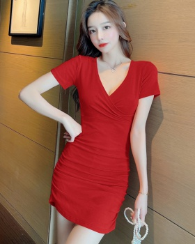 Package hip summer nightclub dress V-neck sexy slim long dress