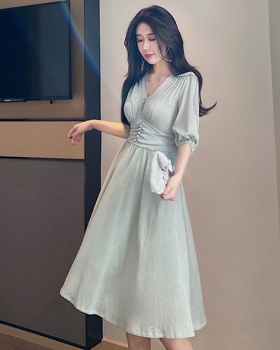 Glitter V-neck dress retro Korean style long dress for women