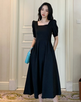 France style puff sleeve dress square collar long dress