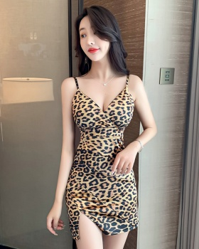 Tight sling nightclub package hip sexy summer leopard dress