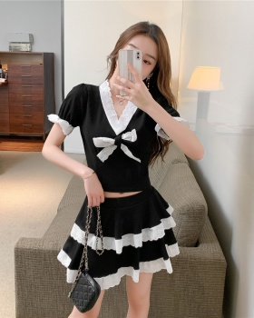 Retro short sleeve slim Western style skirt 2pcs set