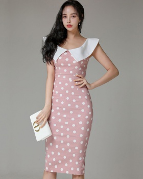 Package hip temperament horizontal collar slim long dress