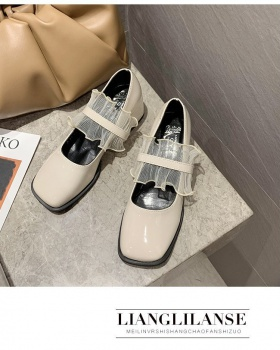 British style Korean style shoes thick leather shoes for women