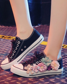 Fashion flat shoes flowers spring and autumn canvas shoes for women