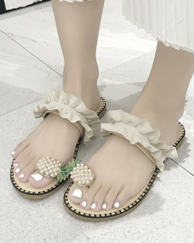 Flat rhinestone shoes wears outside slippers for women