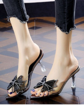 Rhinestone bow stilettos summer slippers for women