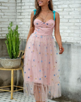 Embroidery temperament long dress stars gauze dress