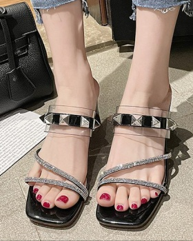 Wear rivet rome summer shoes thick fashion rhinestone sandals