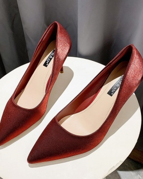 Lady spring shoes pointed low high-heeled shoes for women