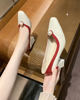 Pearl temperament shoes retro low high-heeled shoes for women