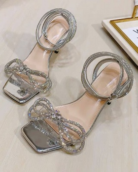 Fine-root rhinestone bow high-heeled sandals for women