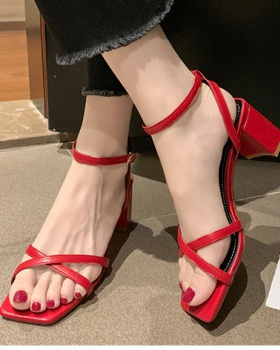 Cross high-heeled shoes Korean style sandals for women