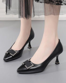 First layer cowhide fine-root high-heeled shoes for women