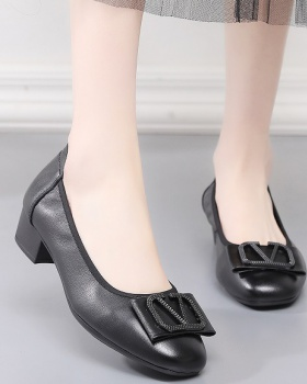 Genuine leather Casual cowhide thick low shoes for women