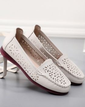 Genuine leather soft soles low hollow flat shoes for women