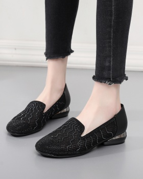 First layer cowhide round low hollow shoes for women