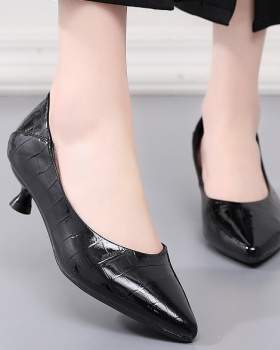 Cowhide low shoes summer high-heeled shoes for women