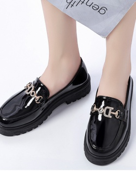 Small black loafers summer light leather shoes for women