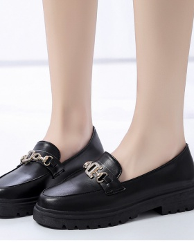 Casual black leather shoes summer loafers for women