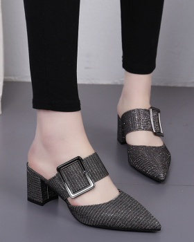 Thick belt buckle middle-heel slippers for women
