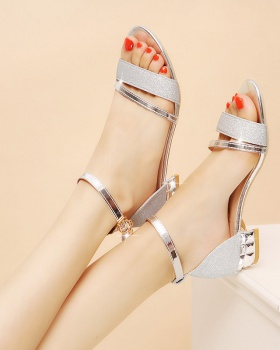 Korean style low summer thick cingulate sandals