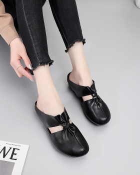Genuine leather flat Casual retro slippers for women