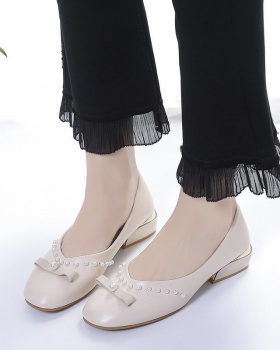 Thick Japanese style spring shoes low beads lazy shoes