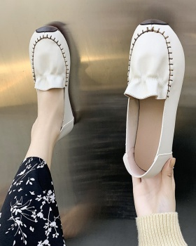 Low Korean style shoes flat round peas shoes for women