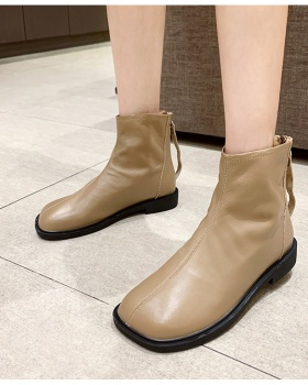 Zip autumn and winter shoes flat Korean style martin boots