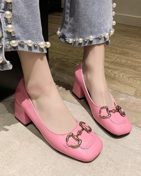 Spring shoes middle-heel leather shoes for women
