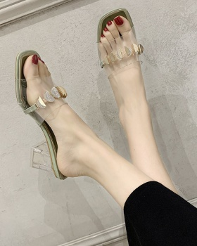 Korean style transparent thick slippers for women
