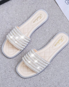 Student summer flat large yard slippers for women