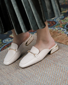 Korean style half slippers spring thick lazy shoes for women
