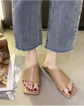 Flat square head Korean style slippers for women