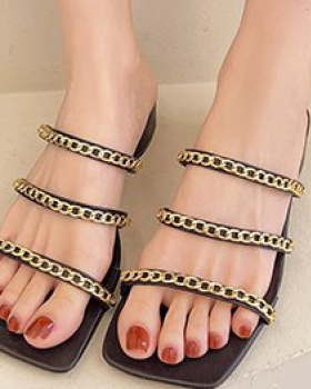 Korean style square head shoes summer slippers for women