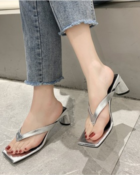 Middle-heel thick slippers spring European style
