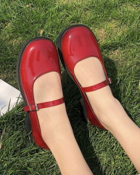 Flat square head shoes small leather shoes for women