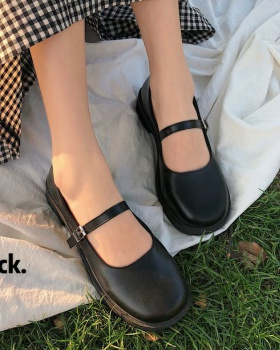 Small flat shoes square head low leather shoes for women