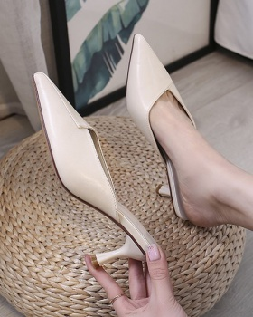 Fine-root pointed fashion summer high-heeled slippers