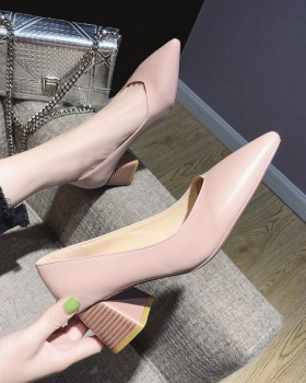 Spring thick high-heeled shoes Korean style shoes for women
