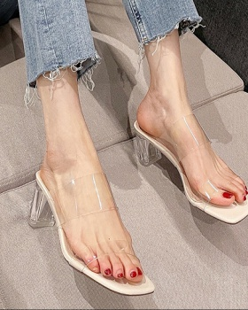 Thick transparent lazy shoes wears outside slippers for women