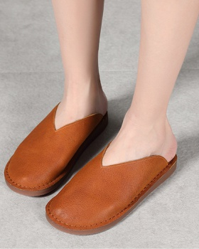Retro art simple lazy shoes all-match summer slippers