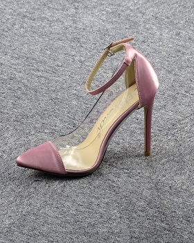 Transparent shoes mixed colors high-heeled shoes